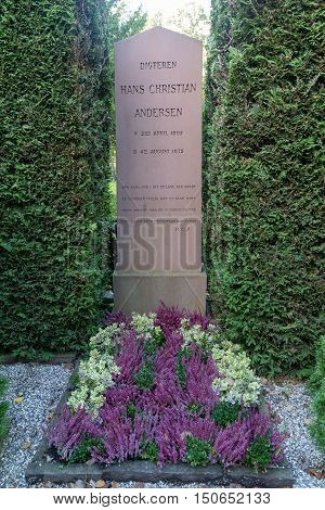 Copenhagen, Denmark - October 04, 2016: The grave of famous danish writer Hans Christian Andersen