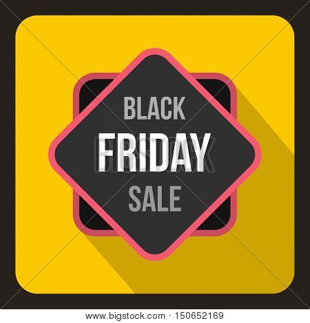 Black Friday sale sticker icon in flat style on a yelllow background vector illustration