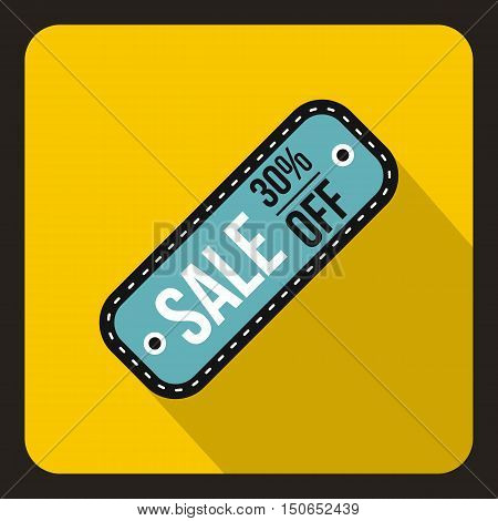 Sale tag 30 percent off icon in flat style on a yelllow background vector illustration