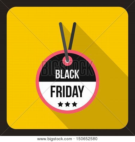 Black Friday sale tag icon in flat style on a yelllow background vector illustration