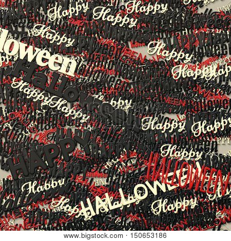 Happy Halloween phrase. Multilayer Pattern with multicolored words. 3d illustration with texture of clay and paper. Abstract Art background. Ornament for print the wrapping paper. Design template.