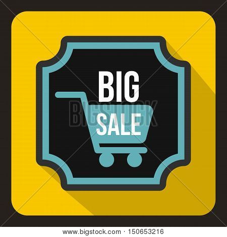 Big sale sticker icon in flat style on a yelllow background vector illustration