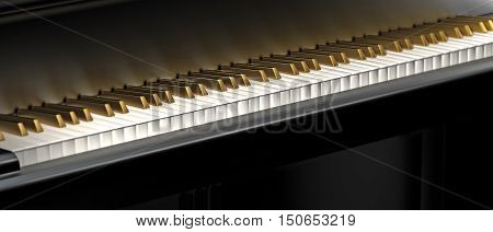 music background image with golden piano keyboard 3D rendering
