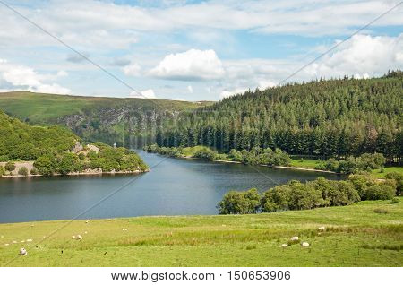 Summertime scenery in the Elan valley of Wales.
