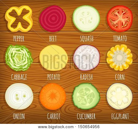 Set of sliced vegetables. Vector icon collection of vegetable cut in half slide circle cross section.