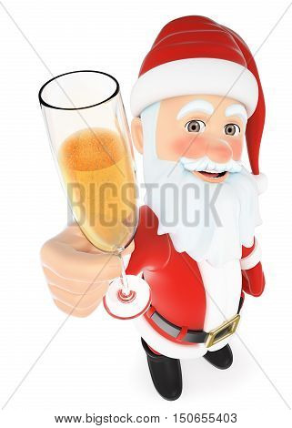 3d christmas people illustration. Santa Claus toasting with a glass of champagne. Isolated white background.