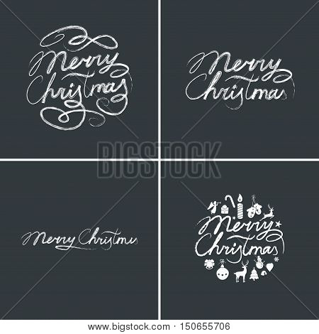 Merry Christmas lettering typography. Text design in handwriting style with holiday icons - bell, deer, Christmas tree. Happy New Year greeting card decoration on black background. Vector set.