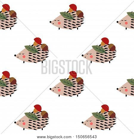 Hedgehog with mushroom, acorn and leaf seamless pattern on white background. Cute cartoon animal background. Child drawing style hedgehog illustration. Autumn design for textile, wallpaper, fabric.