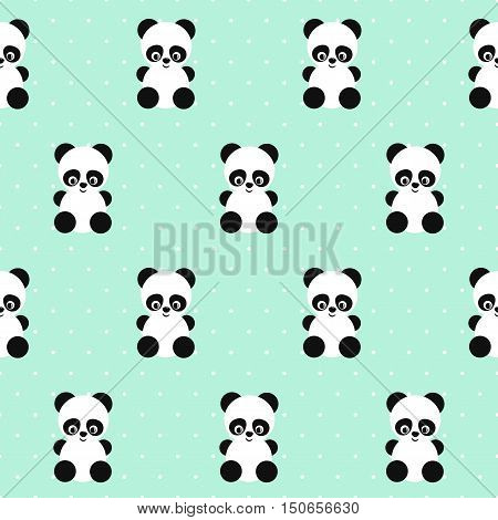 Panda seamless pattern on polka dots green background. Cute design for print on baby's clothes, textile, wallpaper, fabric. Vector background with smiling baby animal panda. Child style illustration.