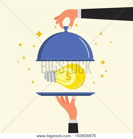 Businessman hands opening cloche lid cover with light bulb on plate. Lamp as mataphor for business idea startup project or innovation concept. Flat style vector illustration.