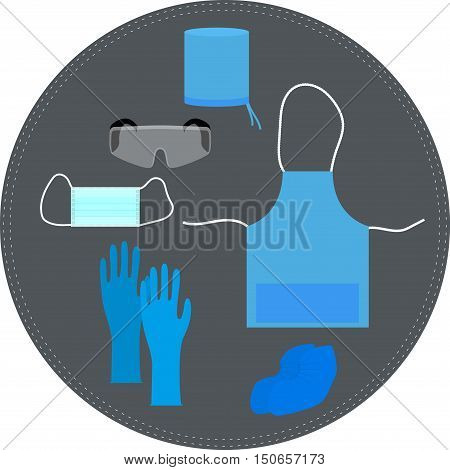 medical clothing and accessories for working. vector