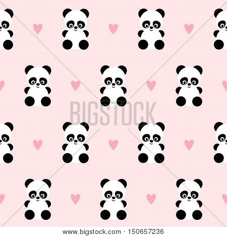 Panda with hearts seamless pattern on pink background. Design for Saint Valentine's Day. Vector background with smiling baby animal panda. Baby girl illustration.