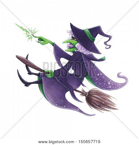 Halloween hand-drawn illustration. Evil Witch on the broom.