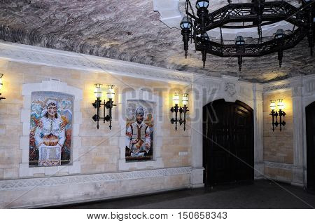 CRICOVA MOLDOVA - October 02: Wall painting in underground famous Cricova wine cellars on October 02 2016 in Cricova Moldova. The wine cellars of Cricova is second largest wine cellar in Moldova.