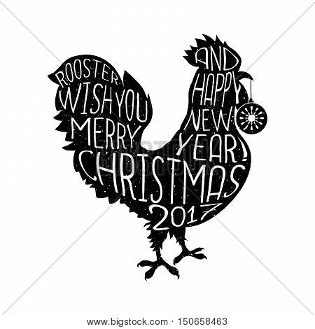 Rooster Wish You Merry Christmas And Happy New Year Hipster Style Poster With Lettering Quote On The