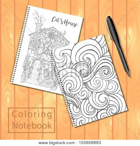 Spiral bound notepads or coloring book with pen and coloring pages pictures wavy cover house with cat. Vector template or mock up. Easy to place your image on the cover.Top view.