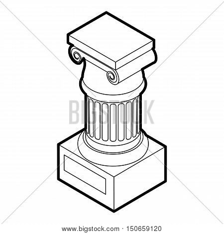 Ancient Ionic pillar icon in outline style on a white background vector illustration