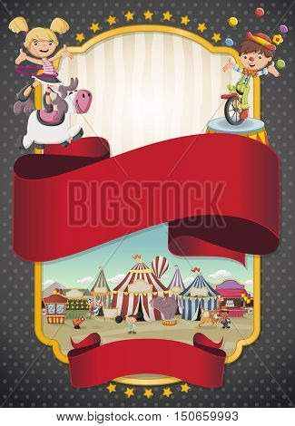 Poster with cartoon characters and animals in front of retro circus. Vintage carnival banner with ribbons.