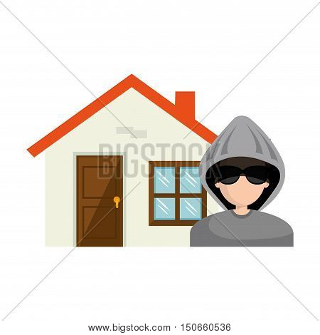 avatar man thief and house property. vector illustration