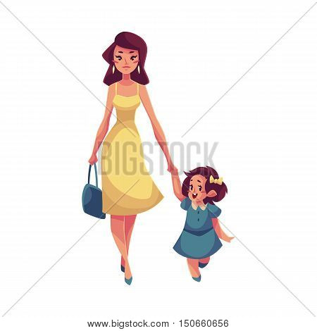 Mother and daughter walking together, cartoon vector illustrations isolated on white background. Young beautiful mom holding her daughter hand and walking together, happy family concept