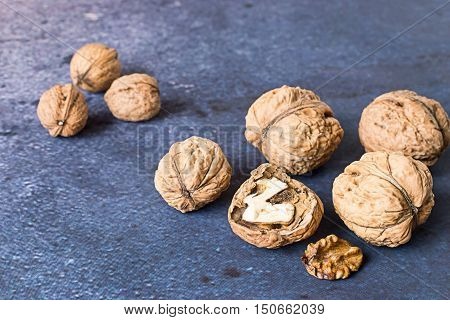 Walnuts, giant and ordinary, on a blue background.
