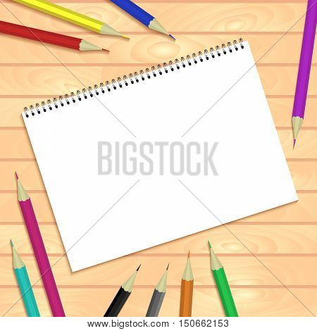 Spiral Bound Notepads And Pen. Vector Template Or Mock Up.