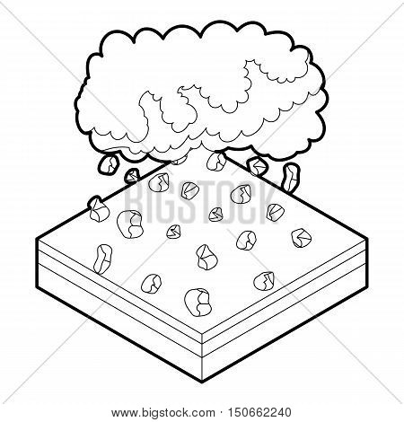 Cloud and hail icon in outline style on a white background vector illustration