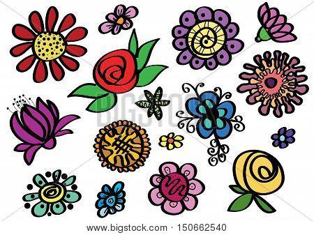 Set of sketched colour flowers - vector illustration