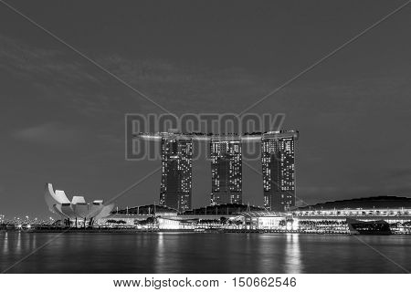 Singapore Singapore - January 30 2015: Black and white shot of Marina Bay Sands hotel by night