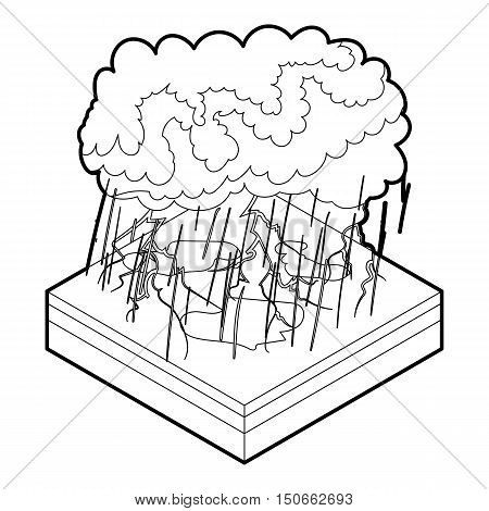 Thunderstorm icon in outline style on a white background vector illustration