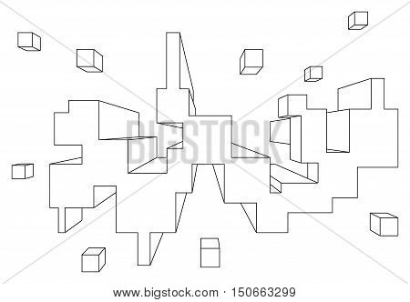 Rectangular shape in linear perspective with one point of vanishing isolated on white
