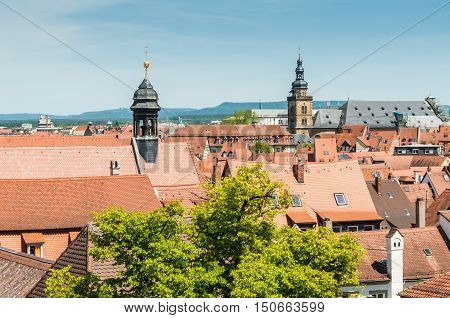 View over the old town of Bamberg Germany. Historic city center of Bamberg is a listed UNESCO world heritage site.