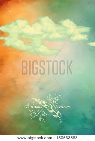 Watercolor painting sky with clouds. Abstract autumn artistic vector background
