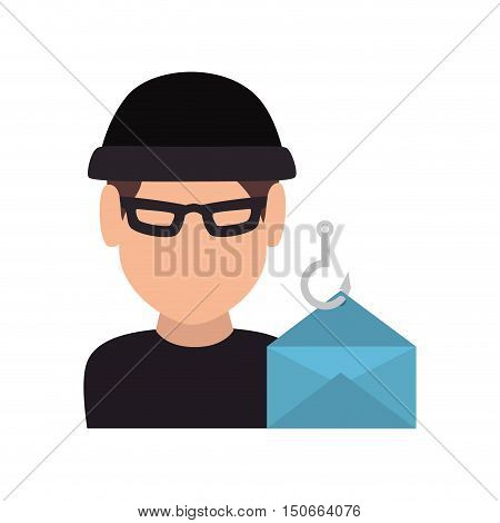 avatar man thief wearing black clothes and  blue envelope icon. vector illustration