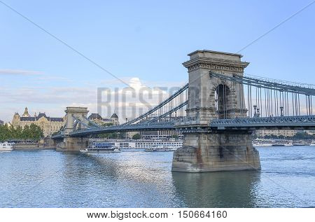BUDAPEST, HUNGARY - SEPTEMBER 17: Bridge Budapest Szechenyi, on September 17, 2016 in Budapest, Hungary.