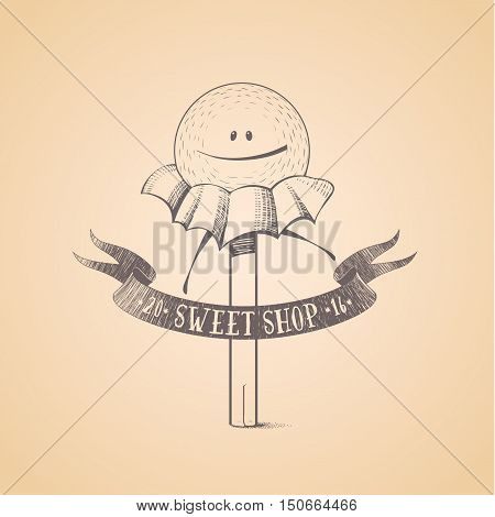 Sweet shop candy store confectionery vector logo icon symbol emblem. Cute funny graphic design element illustration with candy stick lollipop bonbon wrapped caramel character