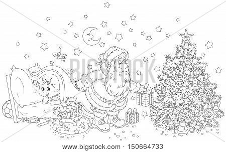 The night before Christmas, Santa Claus putting his holiday gifts under a decorated tree for a little boy who spying behind him from under a blanket