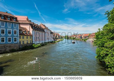Fishermen's houses from the 19th century in Little Venice on the Regnitz river bank in Bamberg Franconia Germany. Bamberg is a UNESCO world heritage site.
