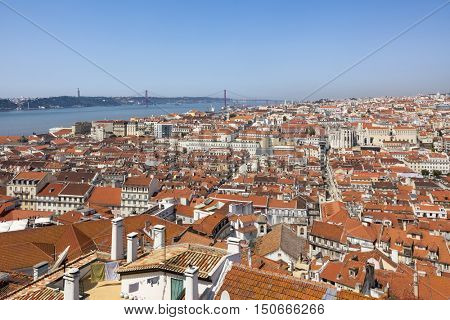 View over the roofs of Lisbon old town with Tagus river