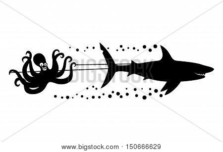 Cheerful octopus and shark on a white background.