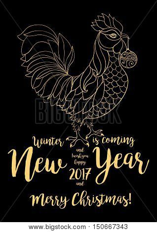 Golden Rooster, Symbol Of 2017 On The Chinese Calendar. Thin Line Art Cock. Vector Element For New Y