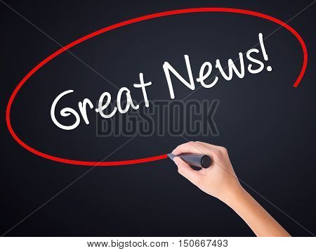 Woman Hand Writing Great News! With A Marker Over Transparent Board