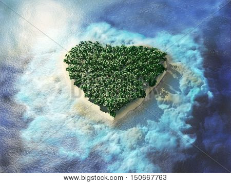 Heart shaped tropical island. An island in the shape of a heart bird's-eye view. Travel 3d illustration.