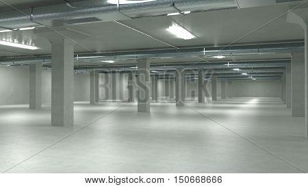 Parking garage interior industrial building Empty underground parking. 3d illustration