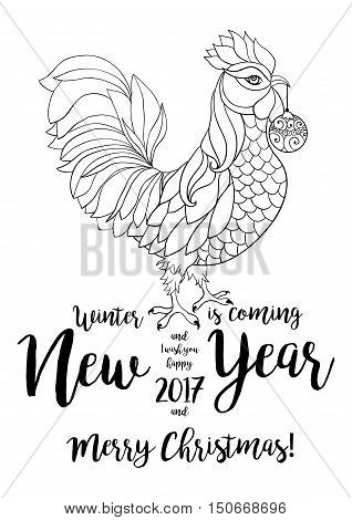 Rooster symbol of 2017 by Chinese calendar. Thin line art typography poster with hand drawn lettering. Vertical banner for New Year's or Merry Christmas. Vector isolated illustration