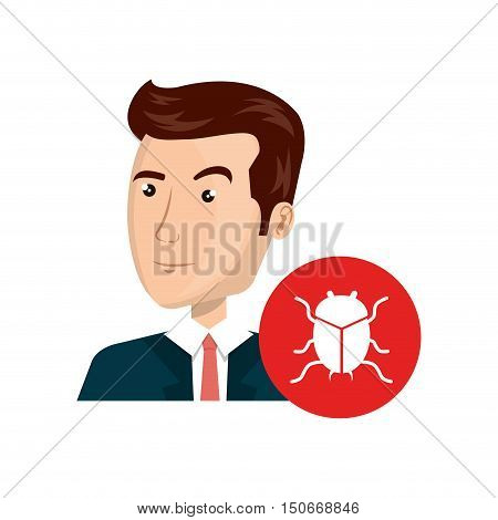 avatar man person with cyber virus icon over red cirlcle. vector illustration