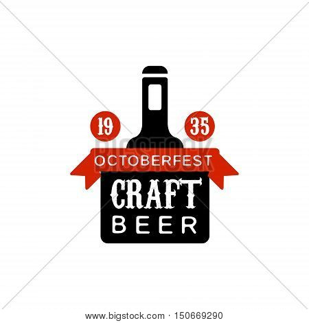 Oktoberfest Craft Beer Logo Design Template. Black And Yellow Vector Label With Text And Establishment Date For Brewery Promotion.
