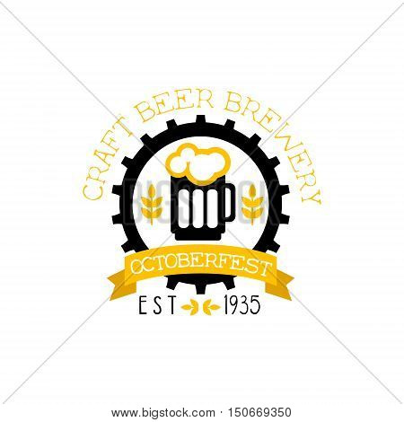 Beer Logo Design Template With Pint. Black And Yellow Vector Label With Text And Establishment Date For Brewery Promotion.