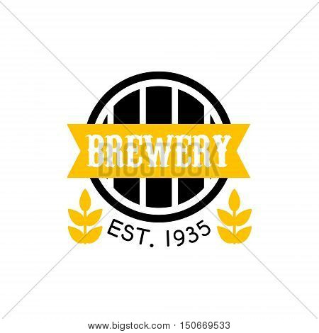 Brewery Logo Design Template. Black And Yellow Vector Label With Text And Establishment Date For Brewery Promotion.