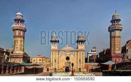 Facade of Wazir Khan Mosque Lahore Pakistan